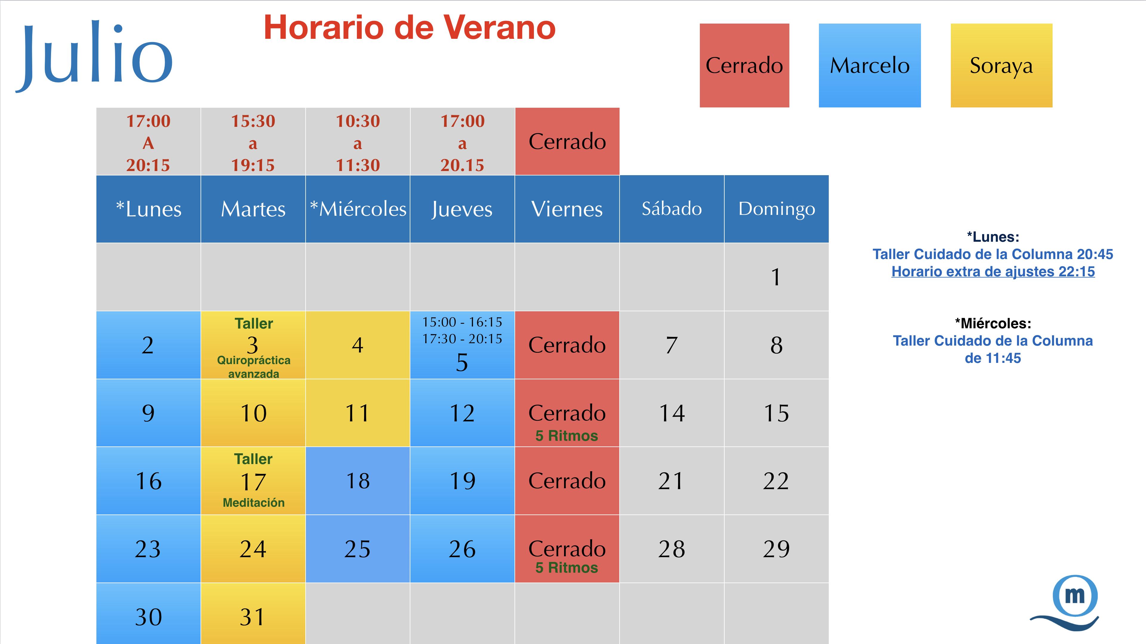 Horarios Verano 2018